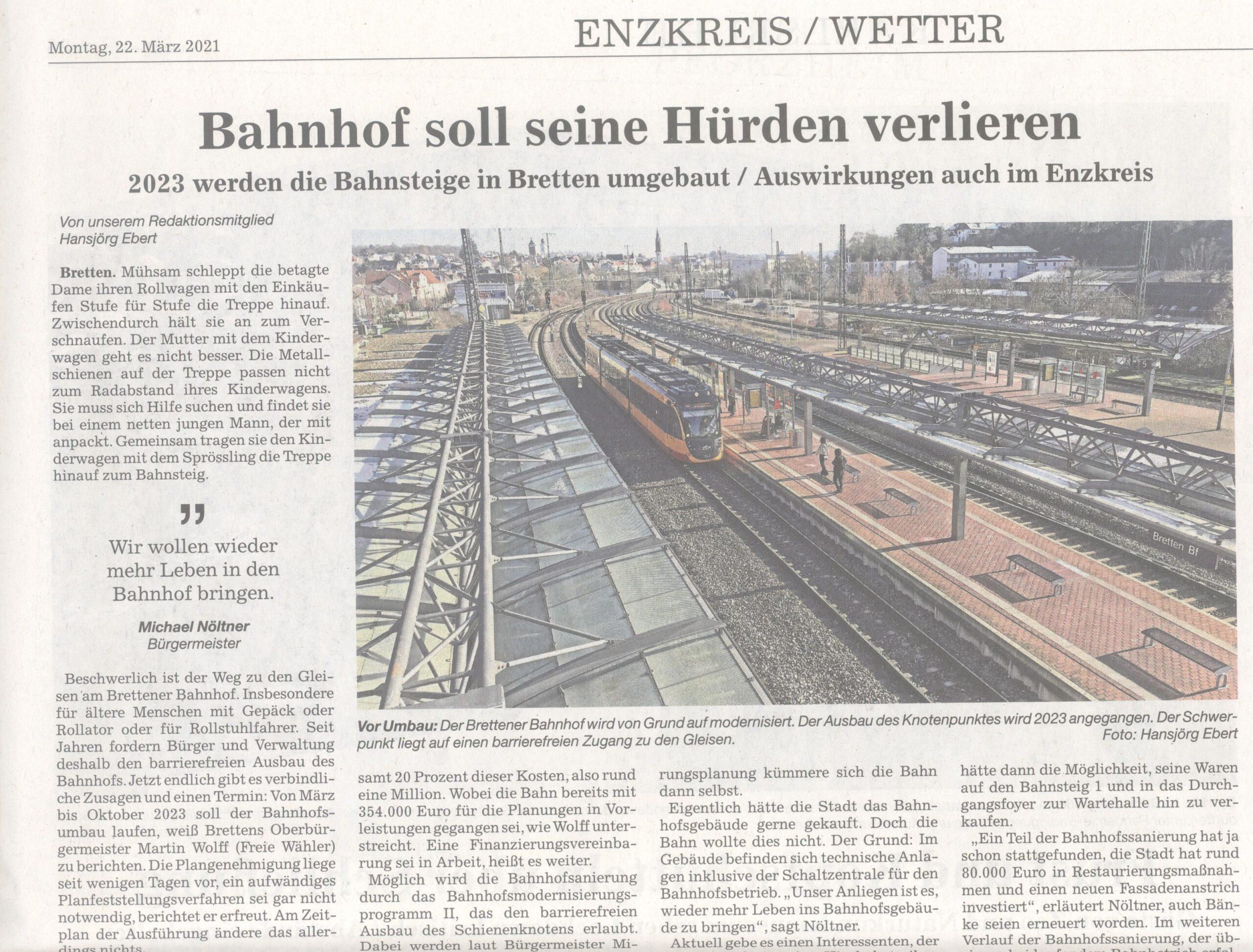 Bahnhof in Bretten soll barrierefrei umgebaut werden bis 2023